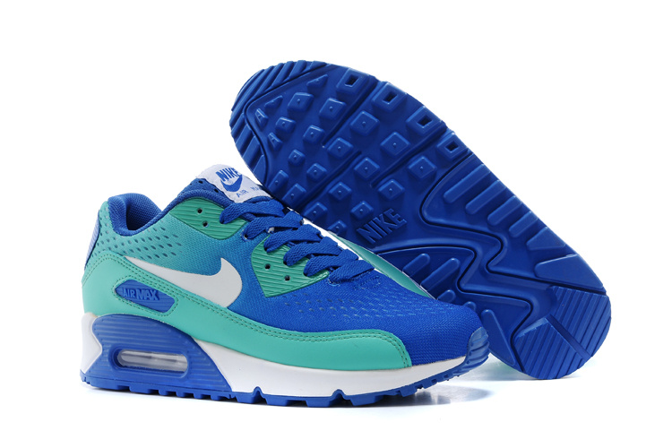 Women's Nike Air Max 90 Knit Blue Green White Shoes