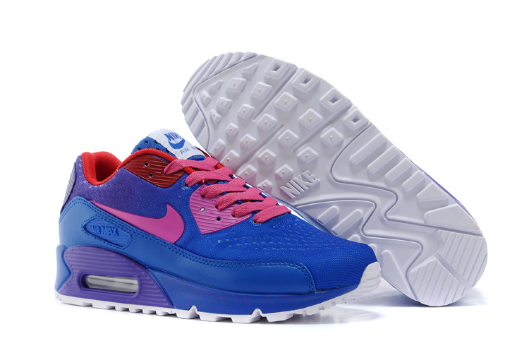 Women's Nike Air Max 90 Knit Blue Pink Purple Shoes
