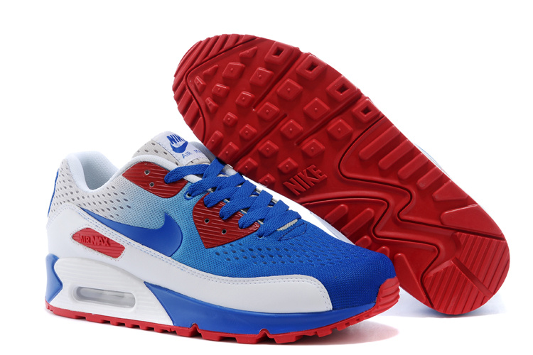 Women's Nike Air Max 90 Knit Blue Red White Shoes