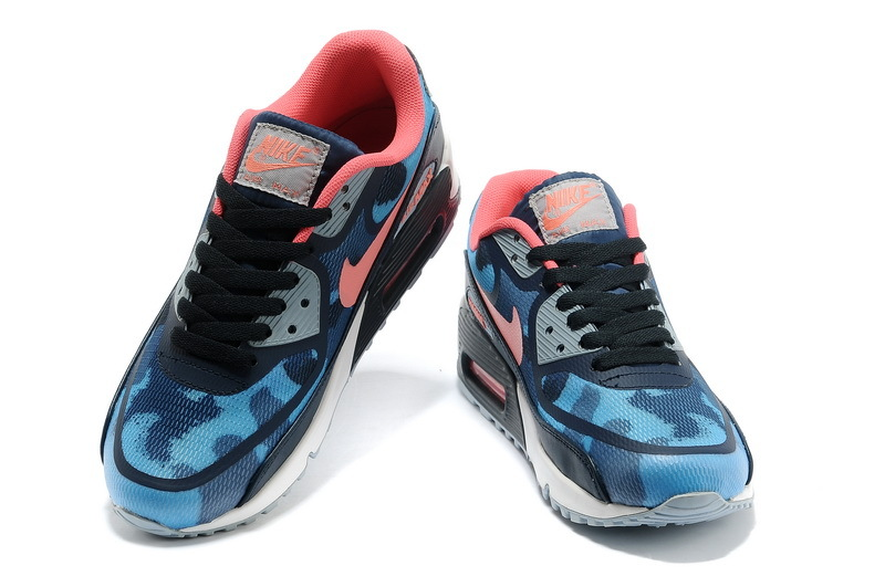 Women Nike Air Max 90 PREM TAPE Blue Red Shoes - Click Image to Close