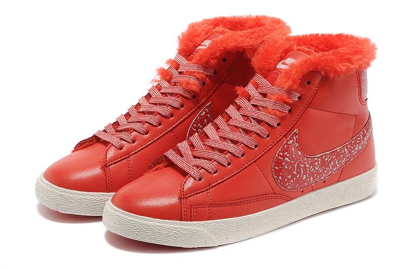 Women Nike Blazer 1 High Wool Red Shoes
