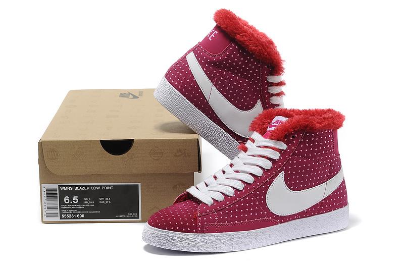Women Nike Blazer 1 High Wool Red White Shoes