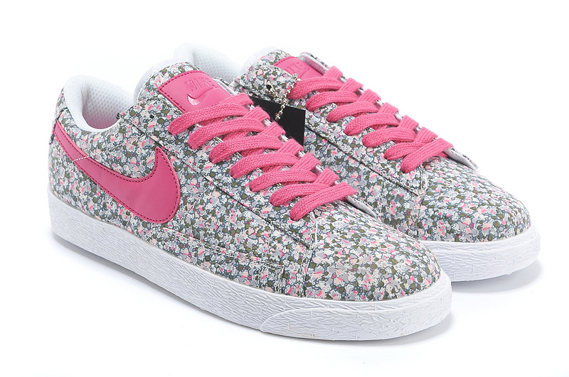 Women Nike Blazer 1 Low Flower Print Pink Red Shoes