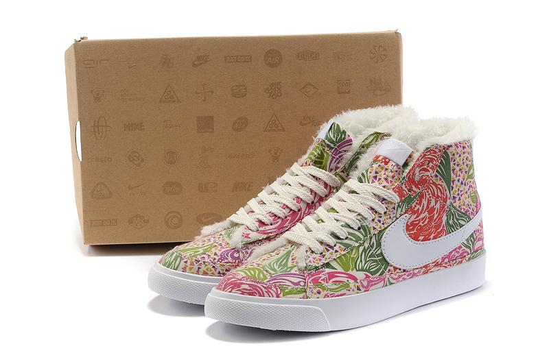 Women Nike Blazer 2 High Dragon Fruit Flower Print Shoes
