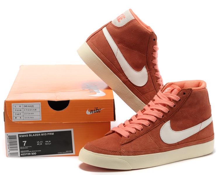 Women Nike Blazer 2 High Orange Reddish Shoes