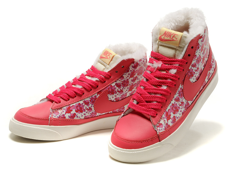 Women Nike Blazer 2 High Red Flower Shoes