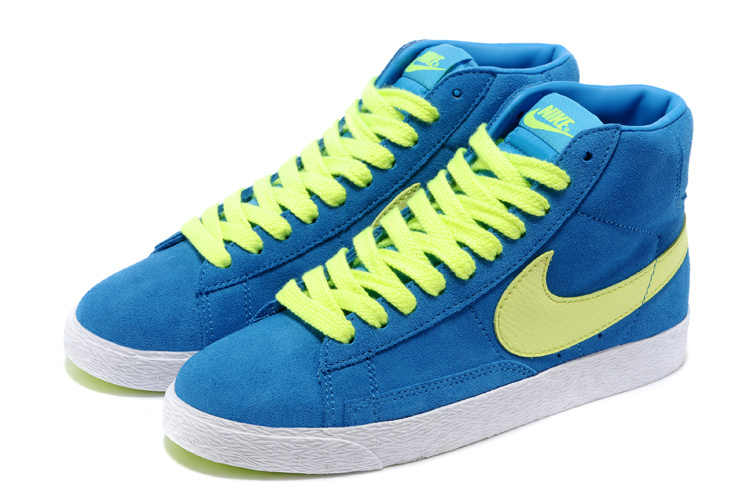 Women Nike Blazer High Blue Fluorscent Shoes