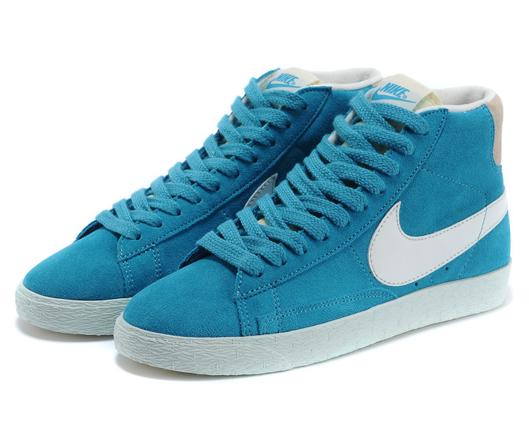Women Nike Blazer High Blue White Shoes