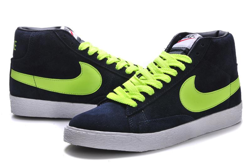 Women Nike Blazer High Dark Blue Volt Shoes