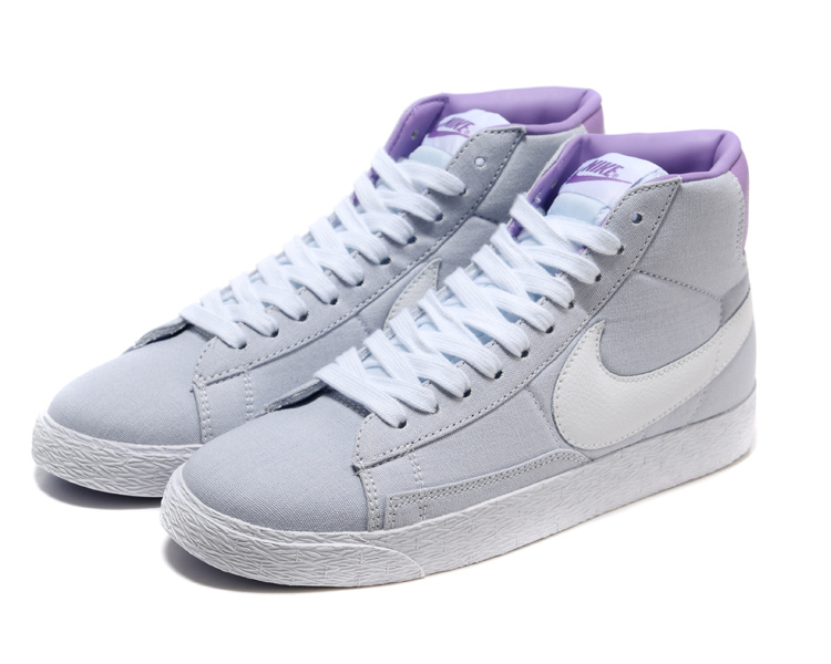 Women Nike Blazer High Grey Purple White Shoes