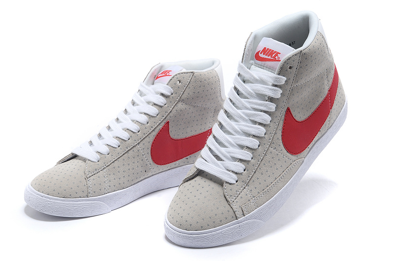 Women Nike Blazer High Grey White Red Shoes