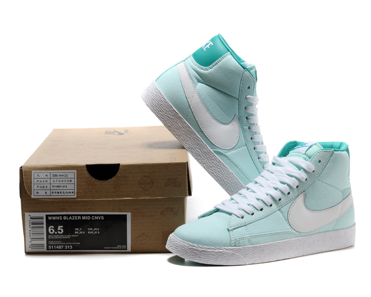 Women Nike Blazer High Light Blue White Shoes