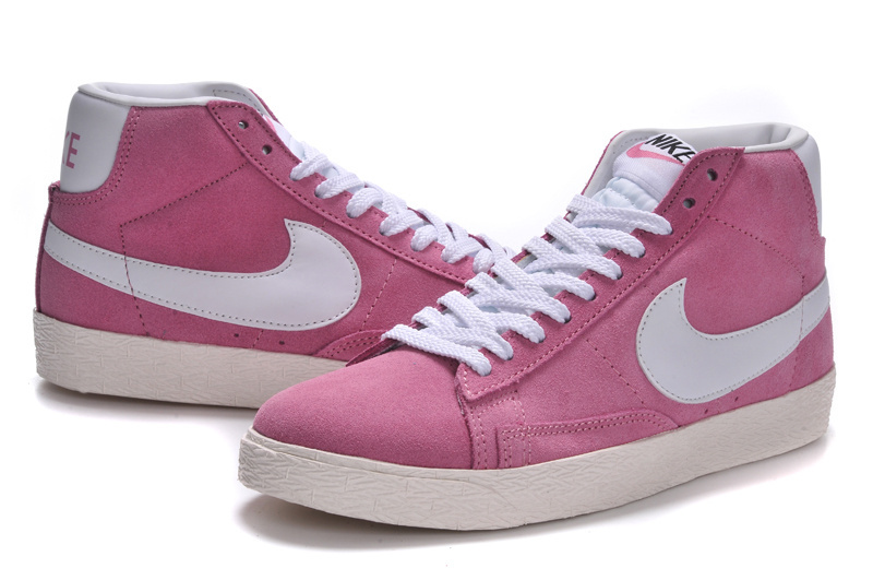 Women Nike Blazer High Pink White Shoes