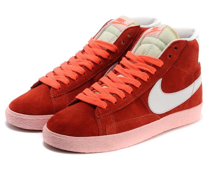 Women Nike Blazer High Red Orange Pink Shoes