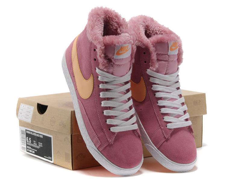 Women Nike Blazer High Suede Peach Yellow White Shoes