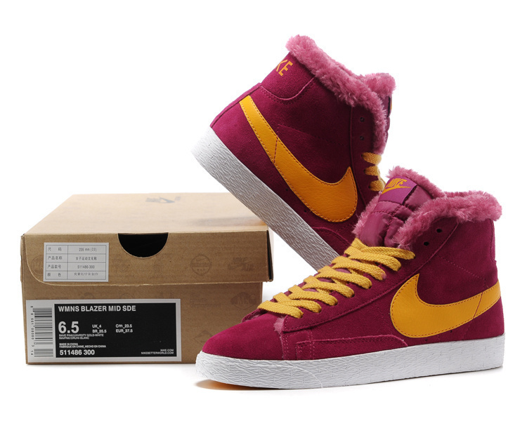 Women Nike Blazer High Wool Purple Yellow Shoes