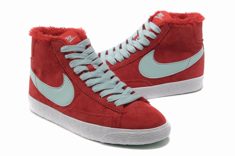 Women Nike Blazer High Wool Red Jade Shoes