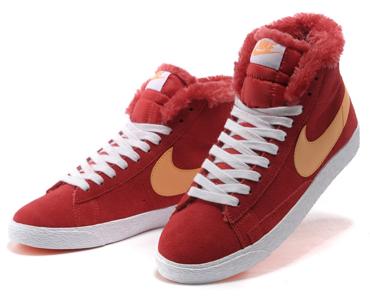 Women Nike Blazer High Wool Red Orange Shoes