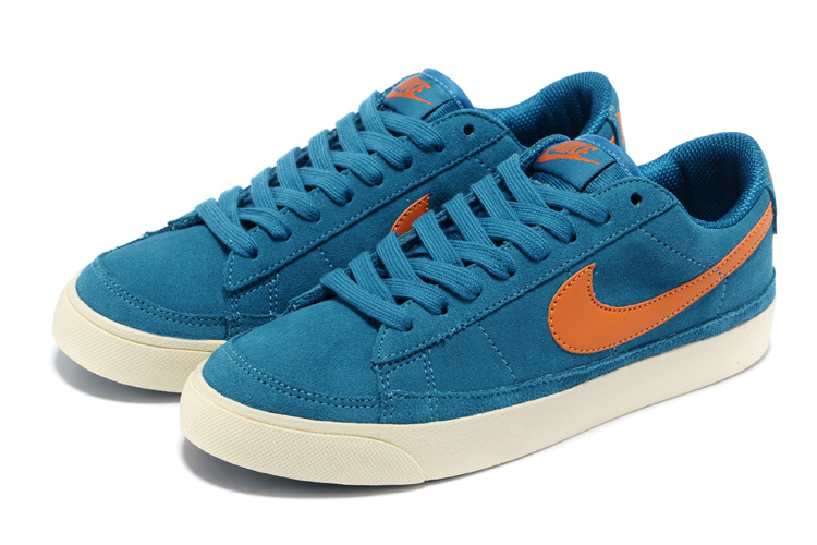 Women Nike Blazer Low Blue Orange Shoes