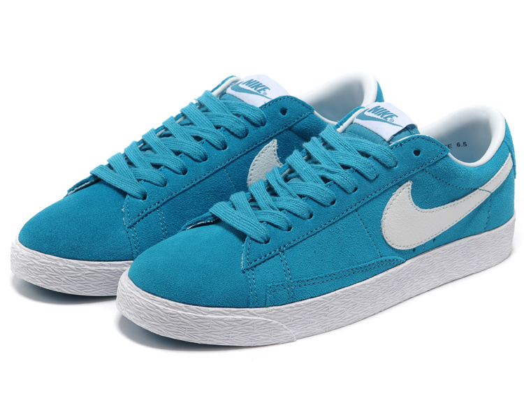 Women Nike Blazer Low Blue White Swoosh Shoes