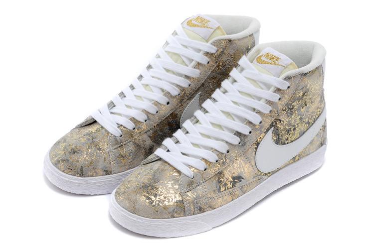 Women Nike Blazer Mid Gold White Shoes