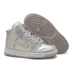 Women Nike Dunk High SB All Silver Shoes