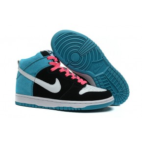 Women Nike Dunk High SB Black Blue Pink Shoes