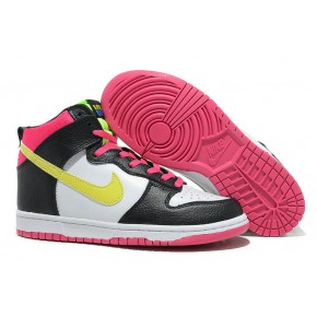 Women Nike Dunk High SB Black Red White Yellow Shoes