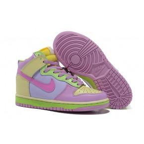 Women Nike Dunk High SB Light Purple Green Shoes