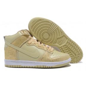 Women Nike Dunk High SB Light Yellow White Shoes