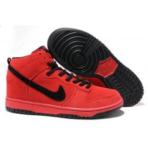 Women Nike Dunk High SB Red Black Shoes