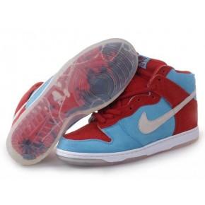 Women Nike Dunk High SB Red Blue Shoes