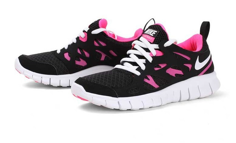 Women Nike Free Run 2.0 Black Pink White Running Shoes