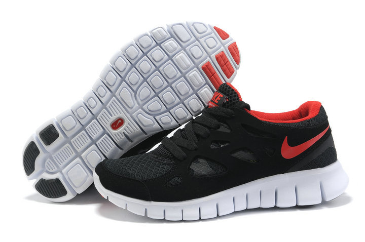 Women Nike Free Run 2.0 Black Wine Red White Running Shoes