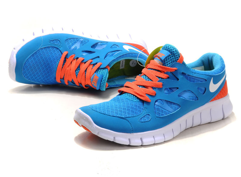 Women Nike Free Run 2.0 Blue Orange Running Shoes