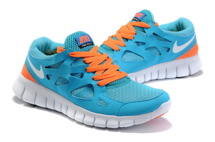 Women Nike Free Run 2.0 Blue Orange White Running Shoes