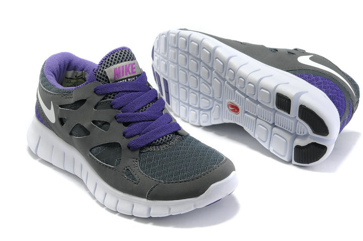 Women Nike Free Run 2.0 Dark Grey Purple White Running Shoes