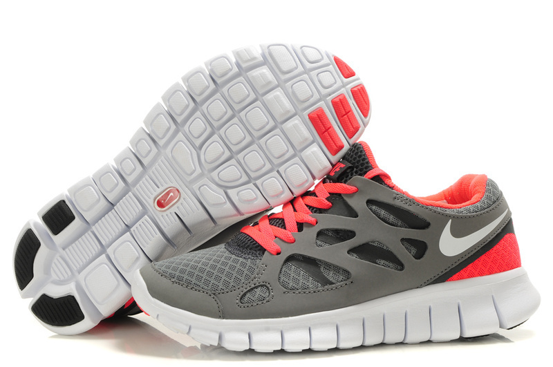 Women Nike Free Run 2.0 Grey Peach White Running Shoes