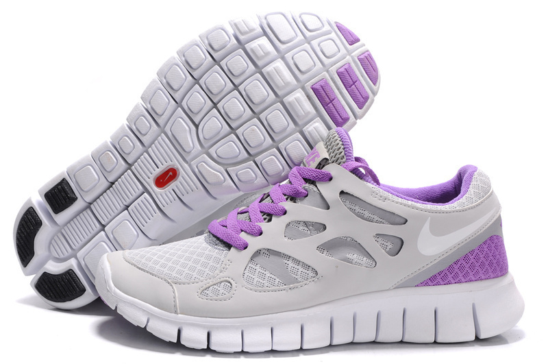 Women Nike Free Run 2.0 Grey Purple Running Shoes