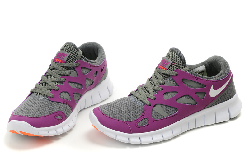 Women Nike Free Run 2.0 Grey Purple White Running Shoes