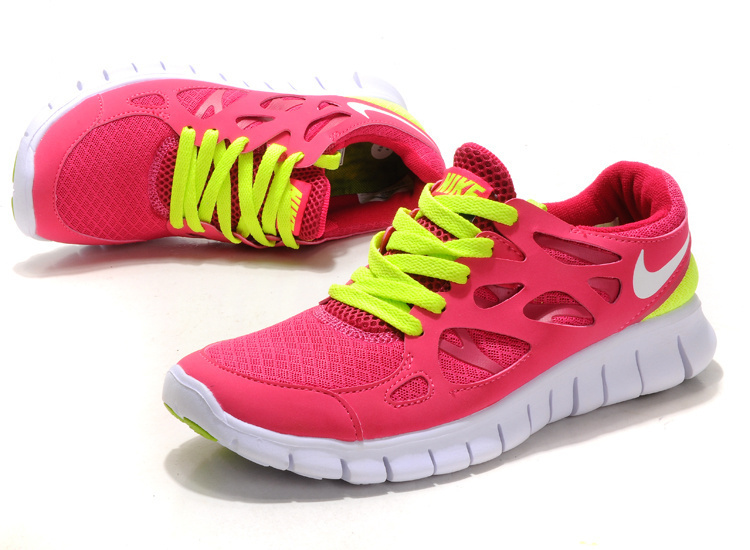 Women Nike Free Run 2.0 Peach Green White Running Shoes