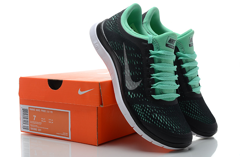 Women Nike Free 3.0 V5 Black Green Running Shoes