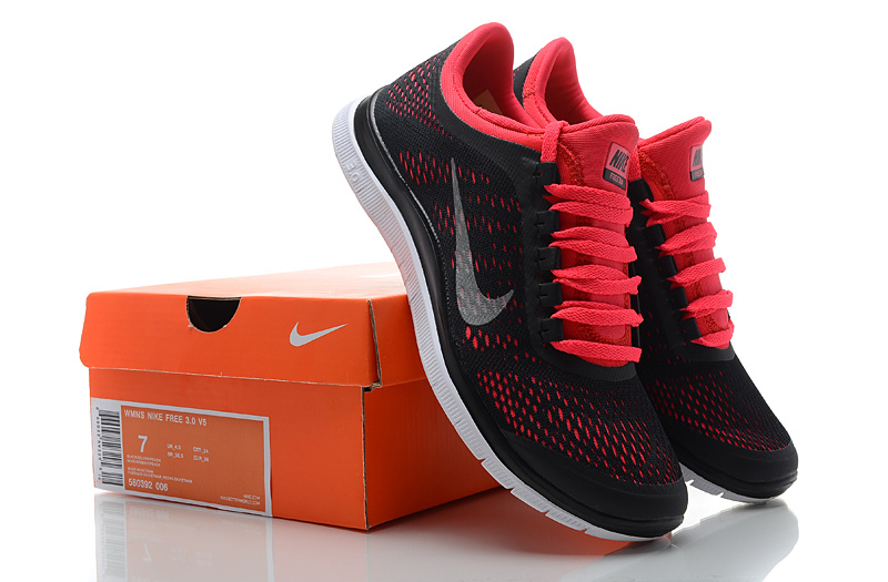 Women Nike Free 3.0 V5 Black Red Running Shoes