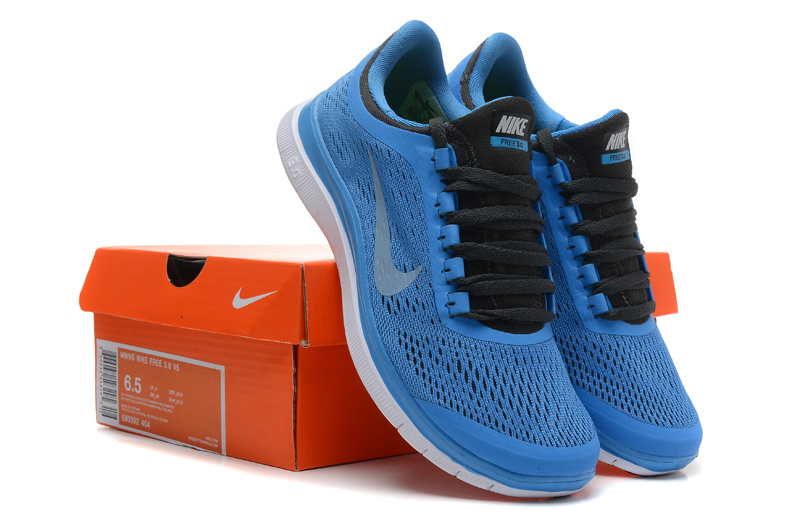 Women Nike Free 3.0 V5 Blue Black White Running Shoes