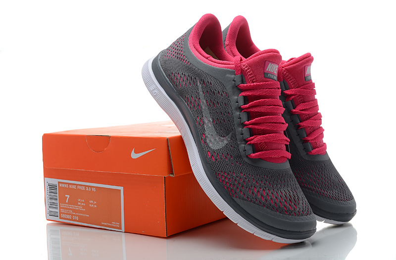 Women Nike Free 3.0 V5 Grey Red Running Shoes