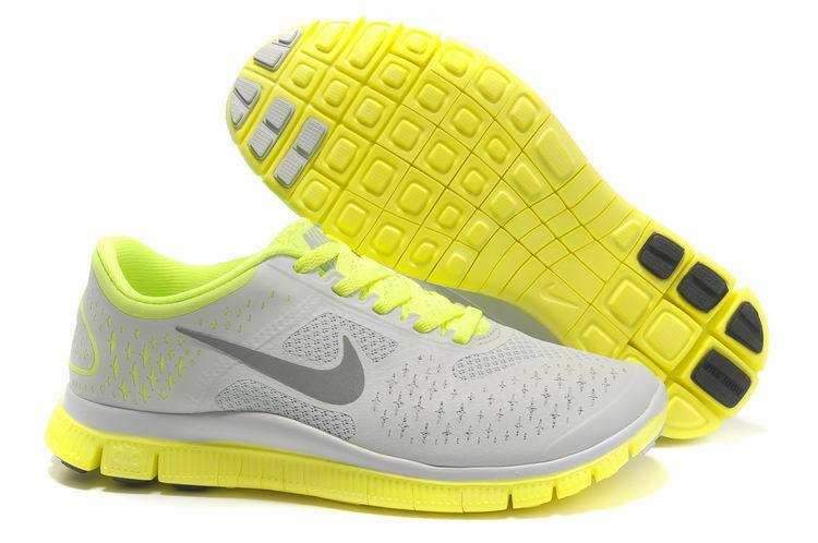 Women Nike Free 4.0 V2 Grey Fluorscent Green Running Shoes