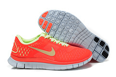Women Nike Free 4.0 V2 Red Fluorscent Green Running Shoes