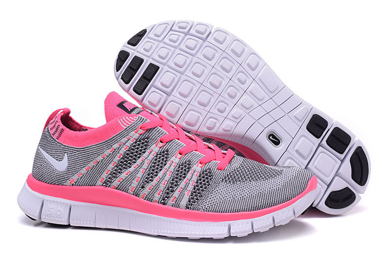 Women Nike Free 5.0 Flyknit Grey Pink Shoes
