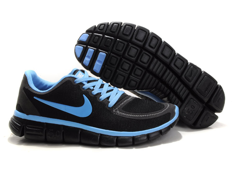 Women Nike Free 5.0 V4 Running Shoes Black Blue