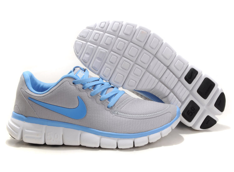 Women Nike Free 5.0 V4 Running Shoes Grey Blue White